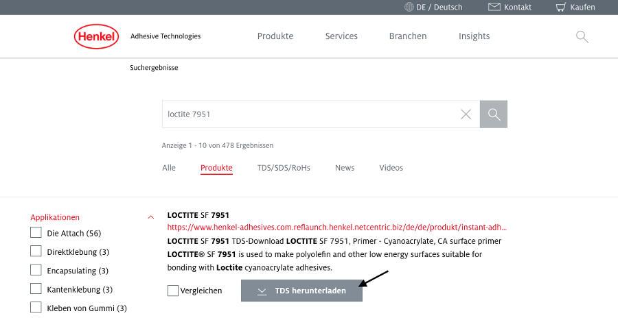 Beispiel zum Download eines Technischen Datenblatts