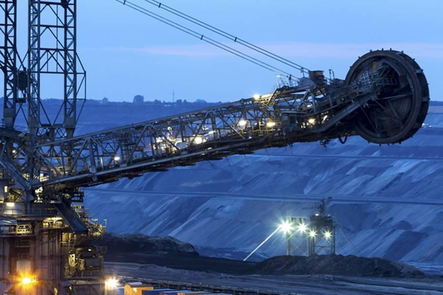 mining excavator at night