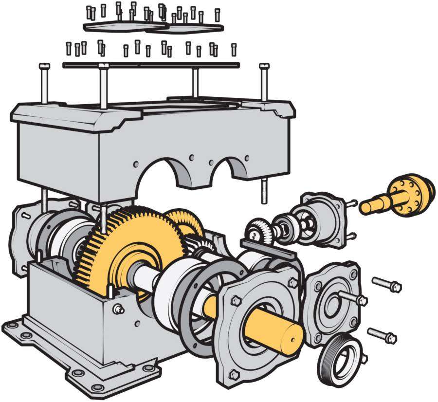 cutaway of a gearbox
