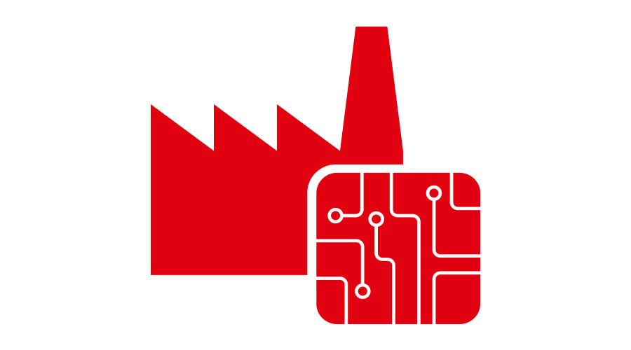 Red circuit board and industrial building illustration