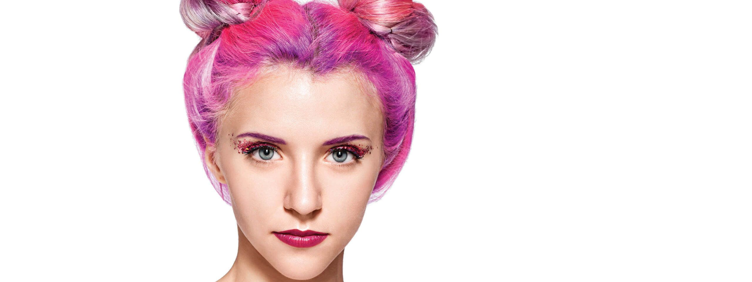 Woman with pink hightlighted hairstyle