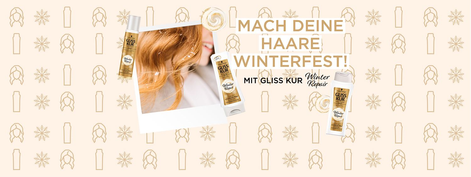 Collage mit blonder Frau und Gliss Kur Winter Repair Produkten