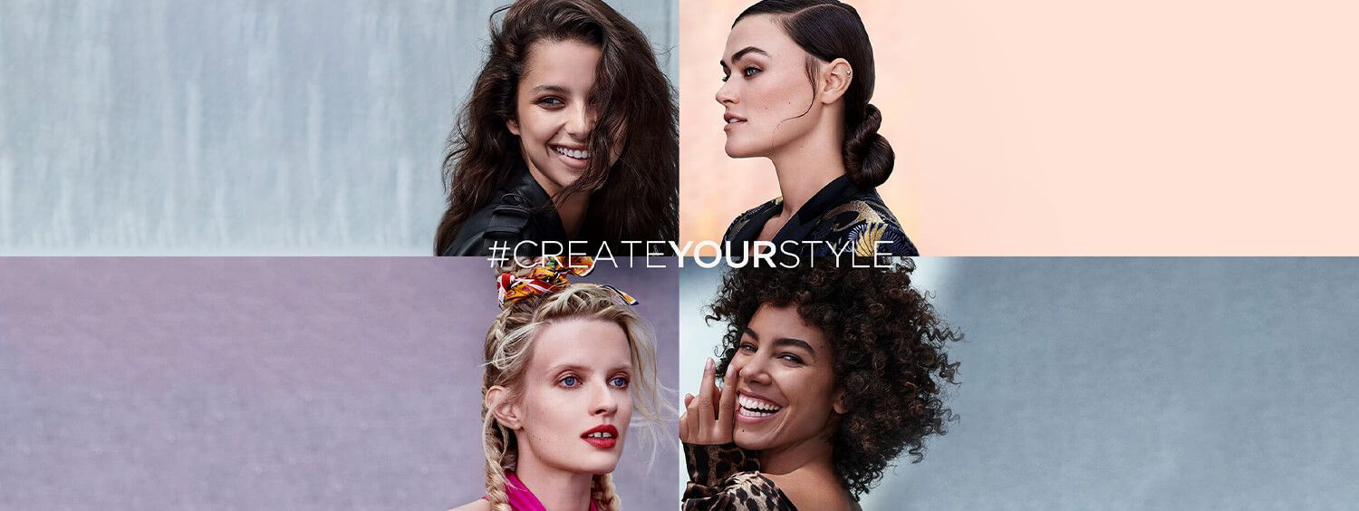 Four models with different hair styles and looks