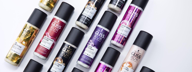 Numerous bottles of Gliss Kur Express Repair Conditioner