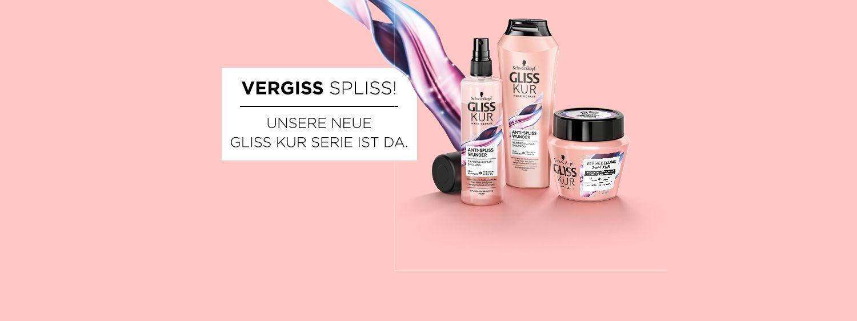 Gliss Kur Anti-Spliss Wunder Shampoo, Spülung und Haar vor peachfarbenem Hintergrund