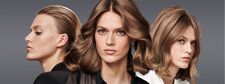 Drei Frauen mit brünettem Haar in verschiedenen Looks