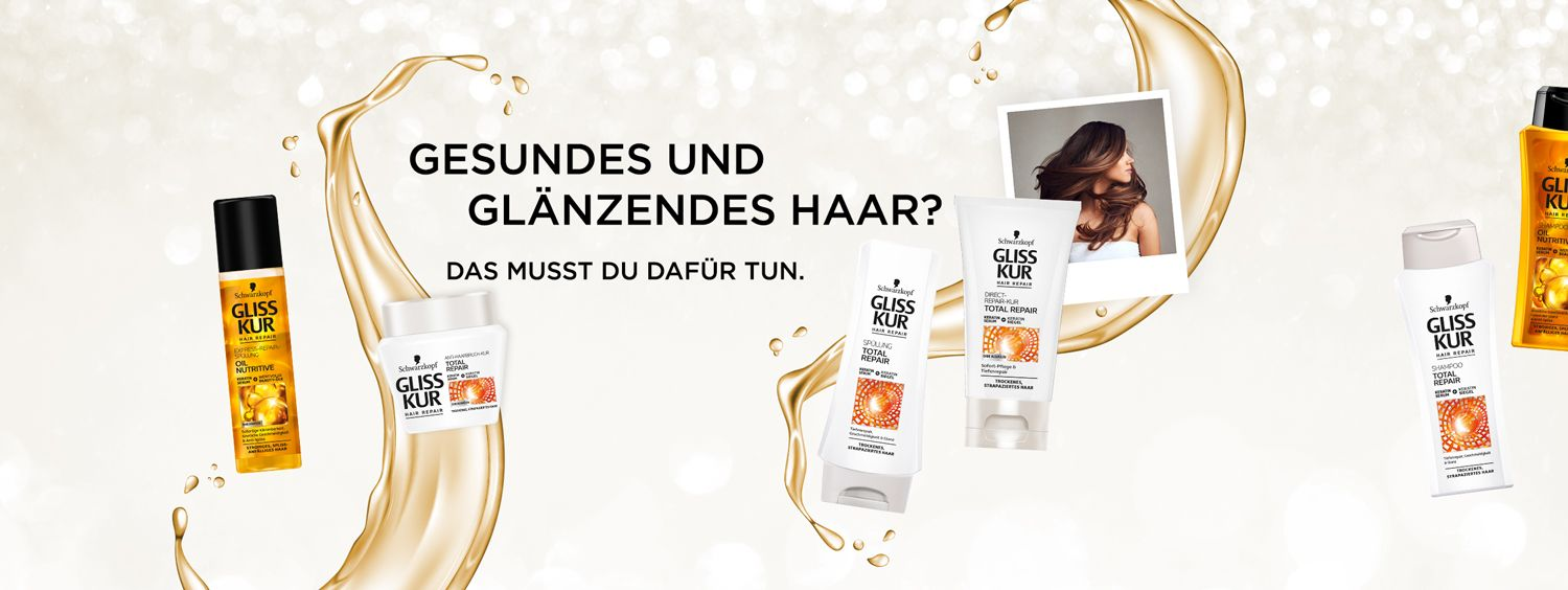 Collage mit Gliss Kur Total Repair Produkten