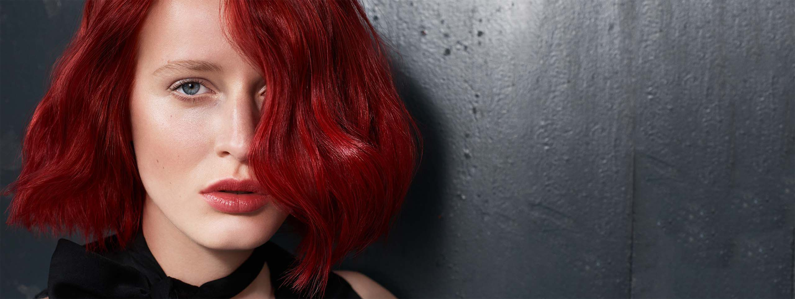 Woman with beautiful bobbed red hair.