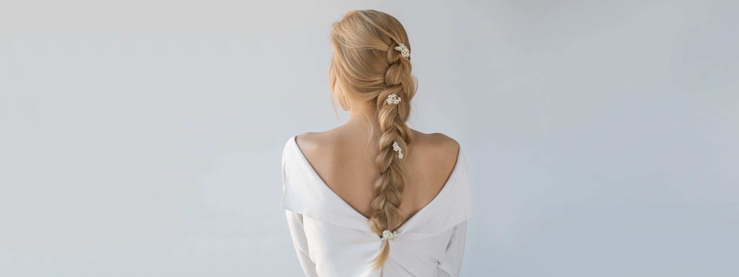 Back view of long braided hair