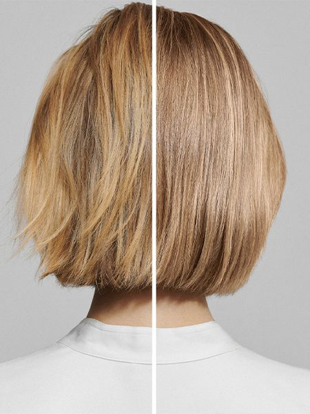 Before and after photo of coloring hair blonde