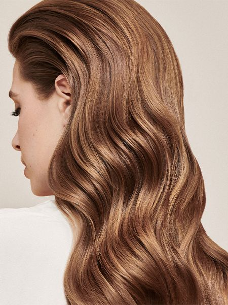 Back view of shiny looking brunette hair