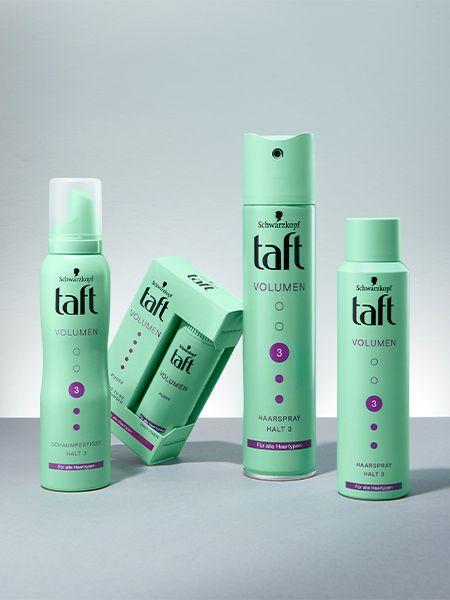 Four Taft Volume products on light blue ground