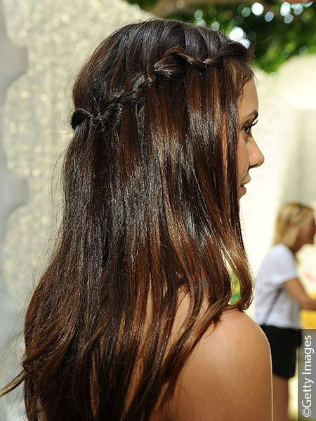 Brunette woman with waterfall hairstyle