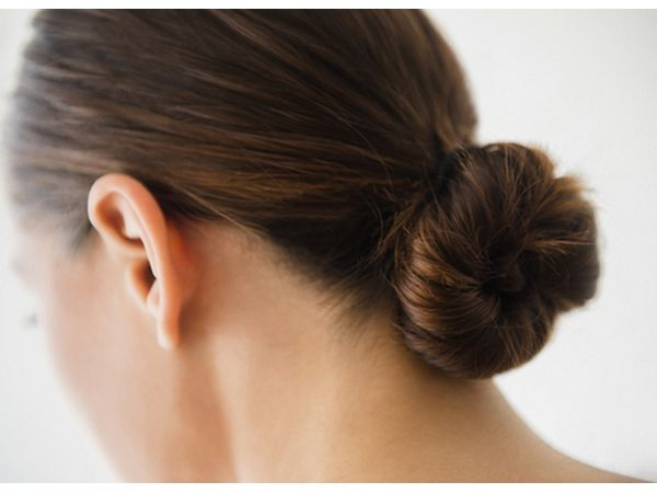 Woman with a simple bun hairstyle