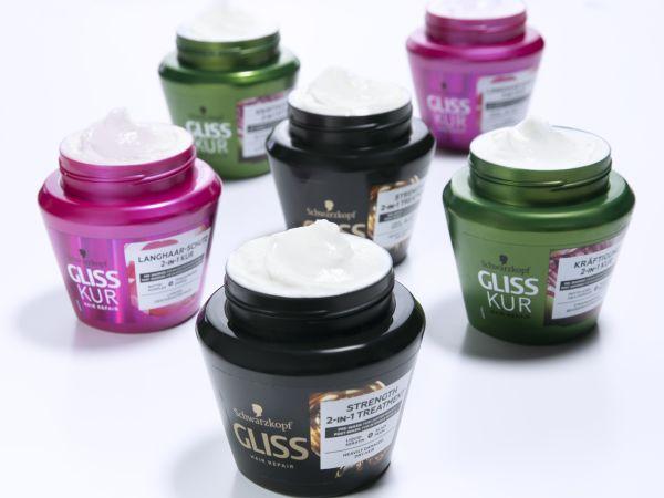 Six tubs of Gliss Kur hair masks
