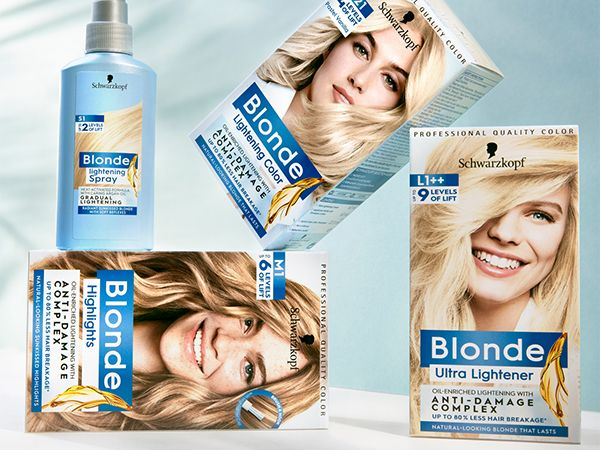 Four products from the Schwarzkopf Blonde range stacked on top of each other