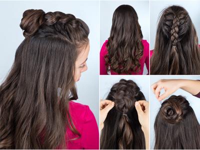 Nahaufnahme von Fingern, die einer anderen Person Haare flechten und frisieren
