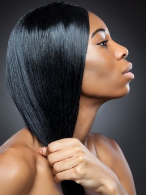 Woman with sleek black hair