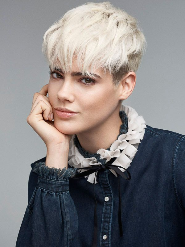 Model Taja with a light blonde undercut.