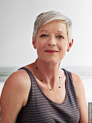 Woman with short, gray hair