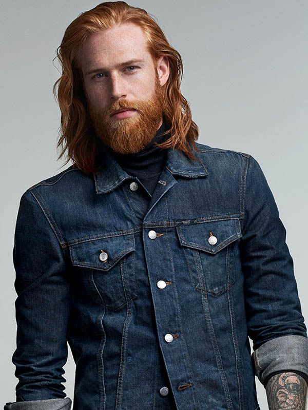 Model Gwilym with red hair