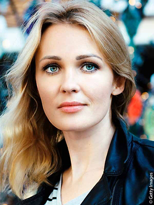 Blonde woman with blue eyes