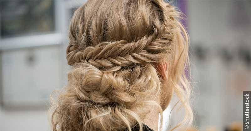 Žena sa krunom od pletenica - podignuta frizura