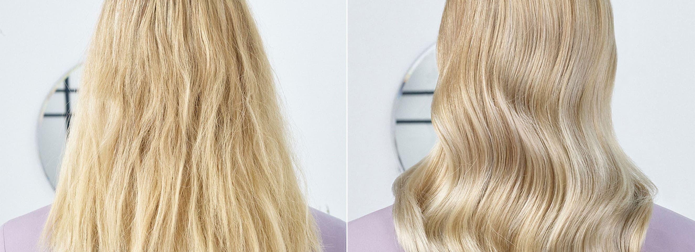 Modelo pasarela con cabello liso y brillante color castaño oscuro y raya al lado