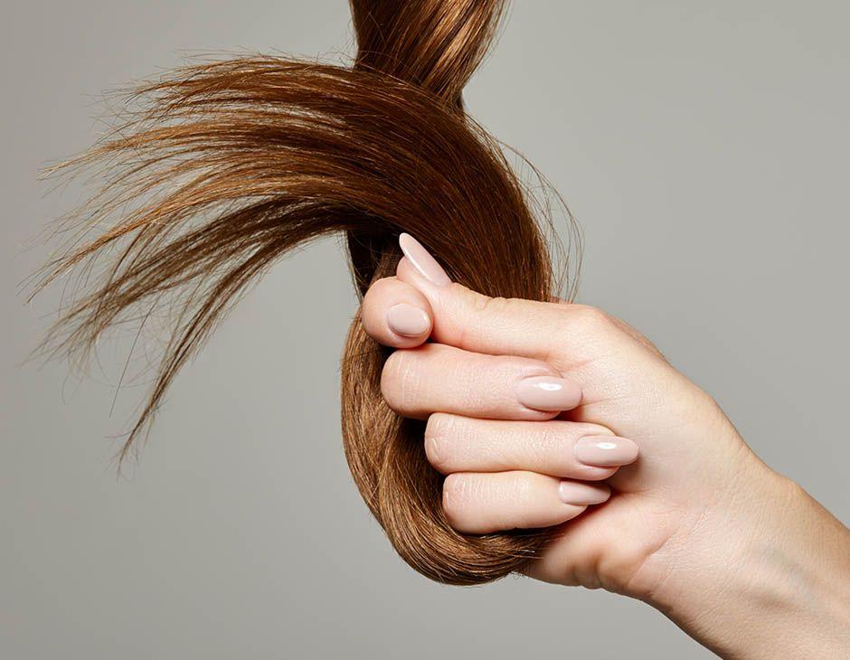 Женская рука держит прядь волос