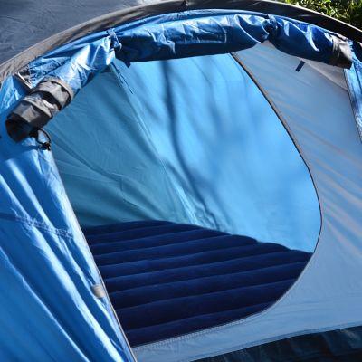 Air mattress inside a camping tent