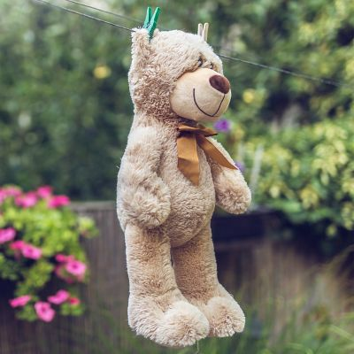 Ein brauner Teddy mit brauner Schleife hängt zum Trocknen im Garten