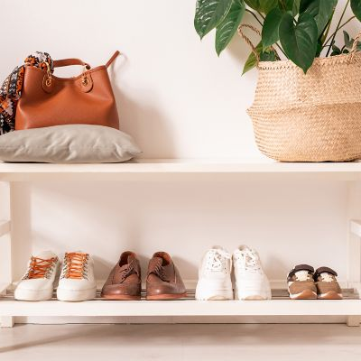 4 pairs of shoes in a bottom rack with a brown leather purse and a plant on the top rack.