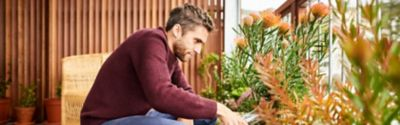 Mann im braunen T-Shirt gießt Topfpflanzen