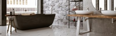 A clean and ideal bathroom with grey tiles
