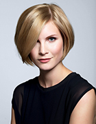 Blonde woman with asymmertical bob