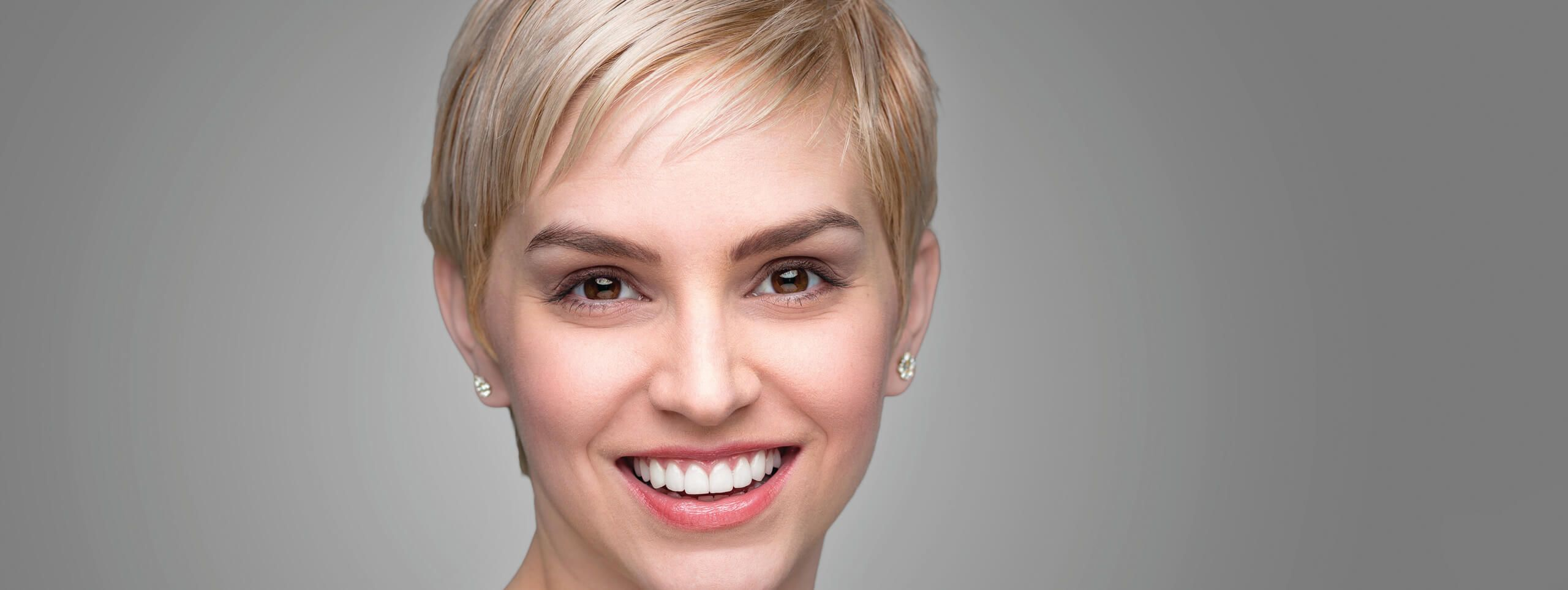 Model with a classic pixie hairstyle