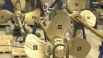 Large propellers being prepped for use