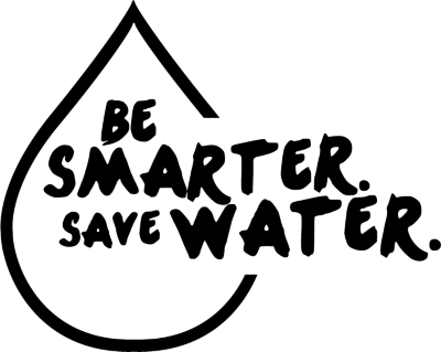 Be Smarter Save Water logo black Transparent