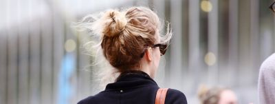 Young woman's hair shot from behind