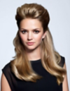 Blonde woman with bouffant hair