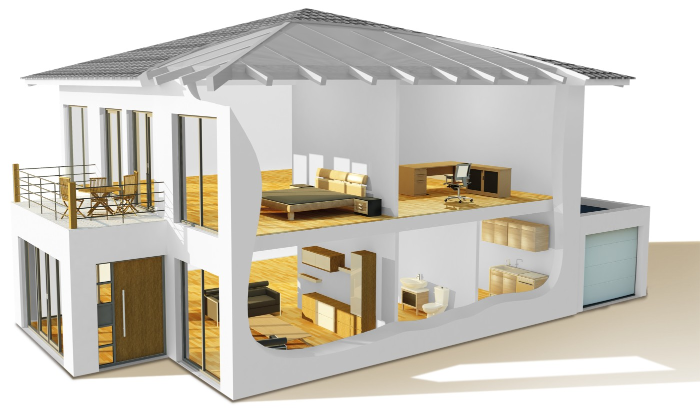 graphic of a house showing different applications of furniture & building components adhesive solutions