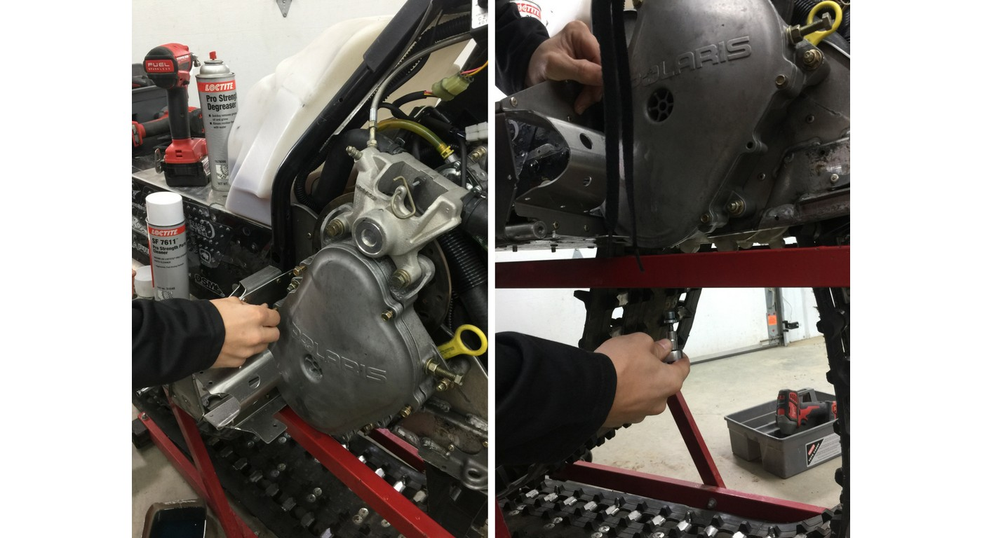 Installing snowmobile drain plug and chain case cover bolts using LOCTITE 243 Blue Threadlocker