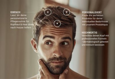 scalp care MID Landing page image 3 Banner with a man and texts