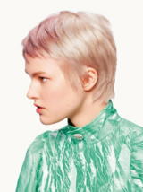 Essential Looks Magical Whimsy Model With Purple Rinse Slicked Back Hair