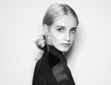 Scalp Clinix Black and White Image Model with Blonde Hair