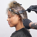 Dusted Blonde Model Hair Being Coloured Step 4