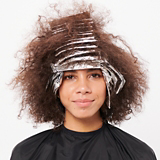 BLONDME Mellow Blonde Model With Tight Curly Brunette Bob In Foils
