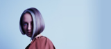 Magical Whimsy Model With Purple and White Blunt Bob