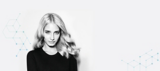 Scalp Clinix Black and White Image Model with Long Wavy Shiny Blonde Hair