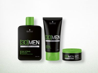 3DMen Hair & Body Shampoo, Strong Hold Gel and Molding Wax Products